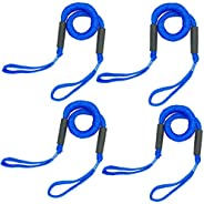 Bungee Dock Lines for Boat Shock Absorb Dock Tie Mooring Rope Boat Accessories 4-5.5 ft Black of 2 Pack