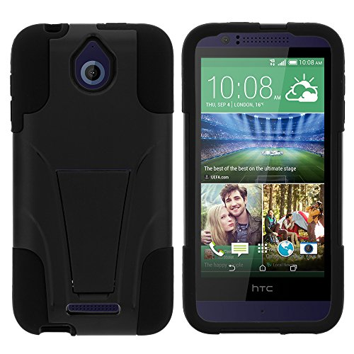 HTC Desire 510 Case, Dual Layer Shell STRIKE Impact Kickstand Case with Unique Graphic Images for HTC Desire 510 by MINITURTLE - Black