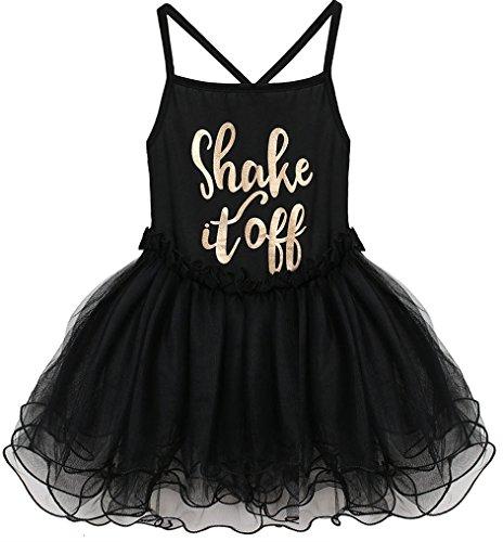 Nagoo Kids Girs Ballet Leotard Spaghetti Strap Letter Print Mesh Dance Dress (8T, Black)