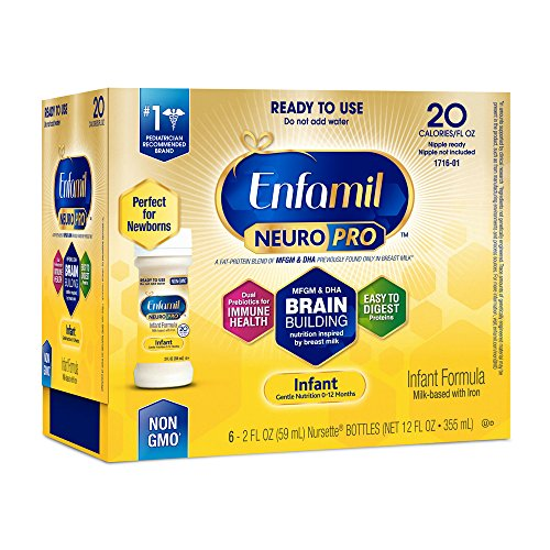 Enfamil NeuroPro Infant Formula - Brain Building Nutrition Inspired by Breast Milk - Ready to Use Liquid, 2 fl oz (6 count) Newborn Baby Formula
