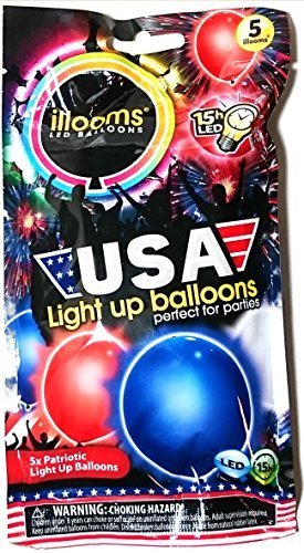 ILLOOMS USA Red White Blue LED Light Up Balloons - bag of 5 balloons -