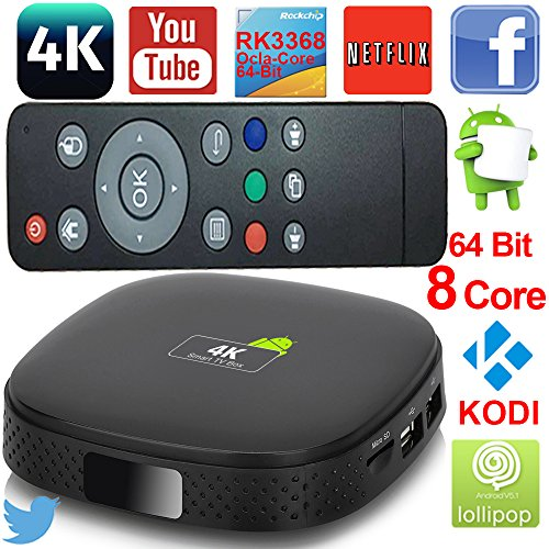 Octa Core Ultra HD 4K Android Set Tv Box KODI XBMC Fully Loaded CPU 3368 1GB/8GB Android V5.1.1 Lollopop Wifi LAN 4k 60fps 2.0GHz Tv Blu Ray Player Kodi Player Streaming Media Player (Android Xbmc Tv Box compare prices)