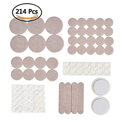 ATPWONZ Variety Size Furniture Felt Pad 214 Piece! 140 Heavy Duty Self Stick Felt Pads + 74 Non-slip Noise Dampening Rubber Bumper Pads Protecting Your Hardwood & Laminate Flooring (Beige)