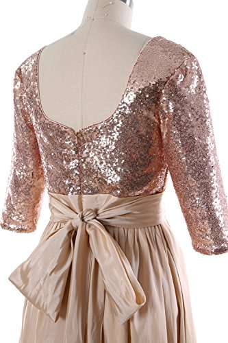 MACloth Women 3/4 Sleeve Sequin Taffeta High-Low Prom Dress Party Formal Gown Rosa