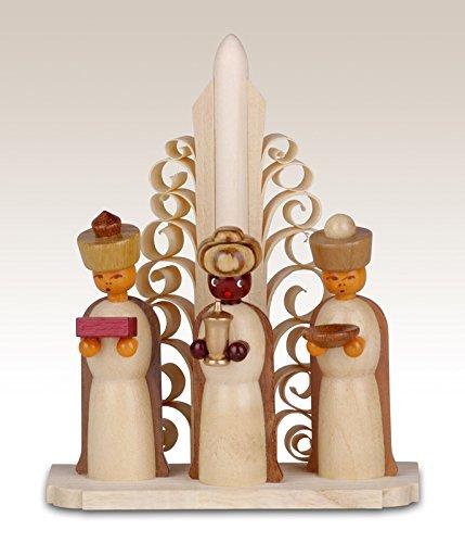 Miniatures saints of three kings on base, unpainted 10cm miniature Christmas figure ore mountains