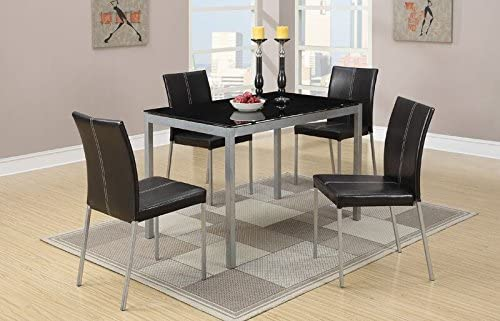 Poundex Metal Dining Table with Black Glass Top and 4 Chairs, Multicolor