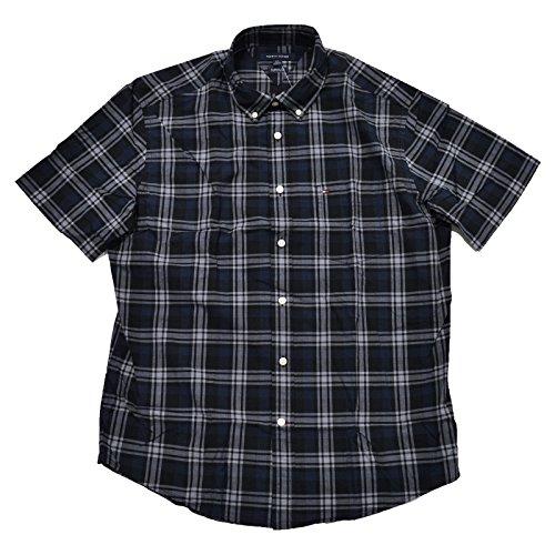Tommy Hilfiger Men's Classic Fit Short Sleeve Buttondown Shirt (XX-Large, Black Iris)