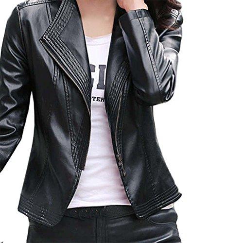 Black Jacket Skirt Suit (Creativity8 WomenPlus Size Motorcycle Jacket Full Lined Soft Leather Causal Coat Zipper . (2XL, Black))