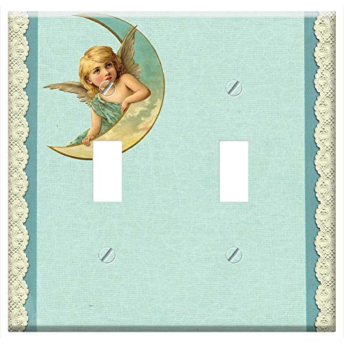 Switch Plate Double Toggle - Background Blue Lace Vintage Angel Moon Cherub 1