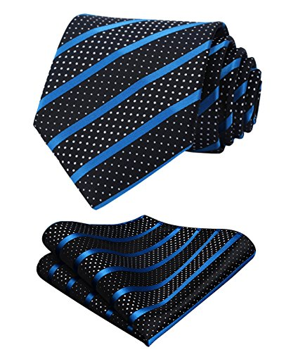 - HISDERN Extra Long Striped Tie Handkerchief Men's Necktie & Pocket Square Set (Blue & Black)