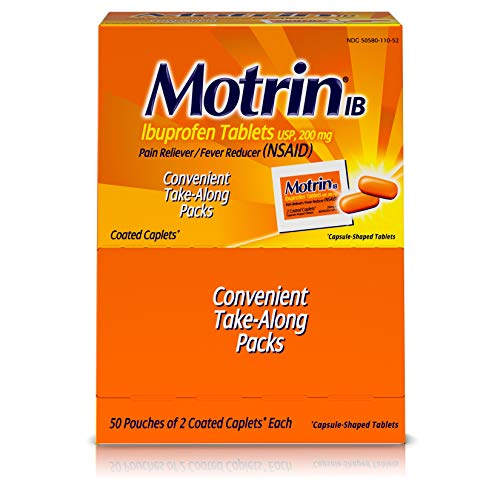 - Motrin IB - Ibuprofen Tablets, Two Tablets Per Packet, 50 Packets Total, One Box