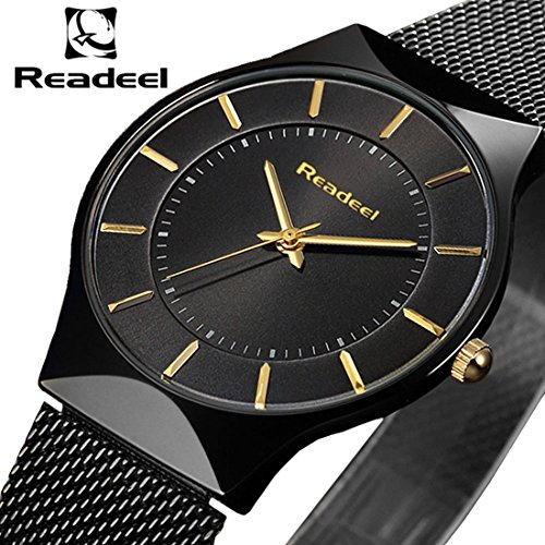 READEEL Men's Business Analog Watch, Business Casual Quartz Watch Luxury Stainless Steel Mesh Strap Ultra Thin Waterproof Clock and Sapphire Glass(Black) (Ultra Analog)