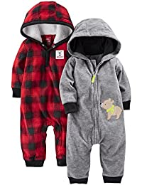 Simple Joys por Carter 's Boys bebé 2-Pack Fleece con capucha Jumpsuits