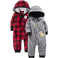 [Sponsored]Baby Boys' 2-Pack Fleece Hooded Jumpsuits