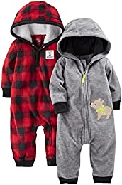 Baby Boys 2-Pack Fleece Hooded Jumpsuits