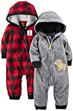 Simple Joys by Carter's Boys Baby 2-Pack Fleece Hooded Jumpsuits, Grey Bear/Red Buffalo Check, 3-6 Months