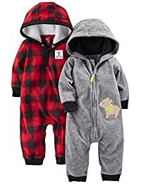 Simple Joys by Carter's Boys' 2-Pack Fleece Hooded Jumpsuits, Grey Bear/Red Buffalo Check, 24 Months