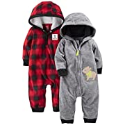 Simple Joys by Carter's Baby Boys' 2-Pack Fleece Hooded Jumpsuits, Gray Bear/Red Buffalo Check, 3-6 Months