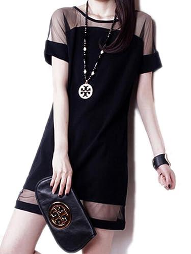 Persun Women Short Sleeves Sheer Panel Shift Mini Dress