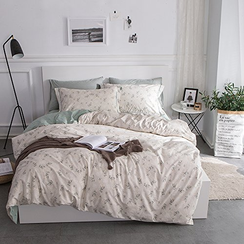 Fresh Floral Print Cotton Bedding Set Queen Reversible Garden Comforter Quilt Duvet Covers and Pillowcases Lightweight Soft Full Duvet Cover Set Zipper Closure Durable Breathable Queen/Full (Cotton Comforter Set Queen)