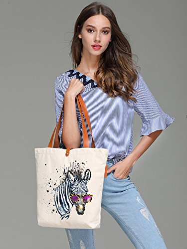 Art Beach Beige 35cm Canvas 10L Zebra amp; Animal Bag Tote So'each Print Eq0wpxR6R
