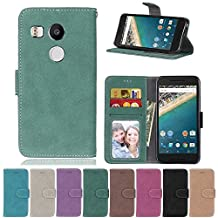 Nexus 5X Flip Case, Nexus 5X case, Nexus 5X Case Cover,YiLin PU Leather Flip Folio Wallet Case Cover for Google Nexus 5X - GREEN