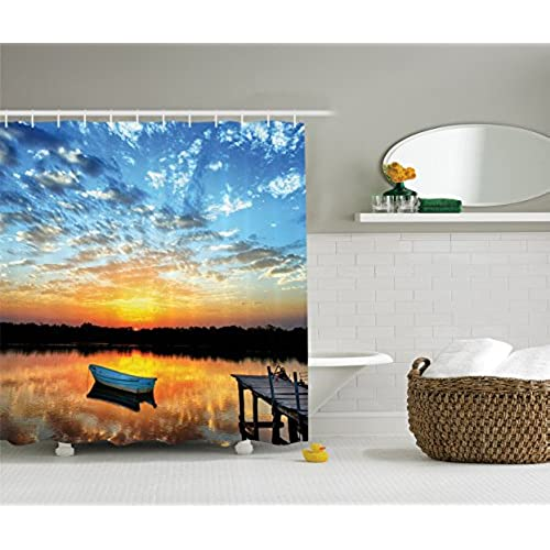 Fishing Shower Curtain Lake House Decor By Ambesonne, Little Fishing Boat  And Sunrise Reflection On Pond Picture Print, Fabric Bathroom Shower  Curtain Set ...