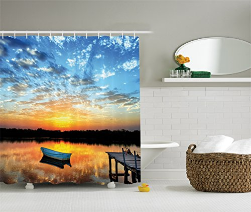 Fishing Shower Curtain Lake House Decor by Ambesonne, Little Fishing Boat and Sunrise Reflection on Pond Picture Print, Fabric Bathroom Shower Curtain Set with Hooks, 75 Inches Long, Blue Gold Grey Sunrise Springs Water