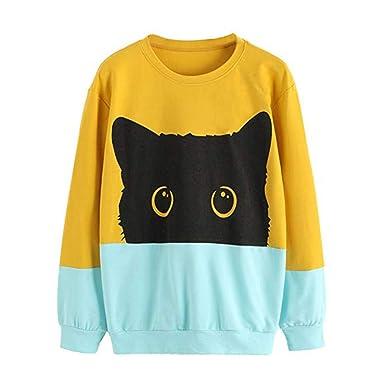 Yesmile Mujer Camisetas❤️Las Mujeres Camisa Camiseta con Estampado de Gatos en Contraste de Color sólido para Damas: Amazon.es: Ropa y accesorios