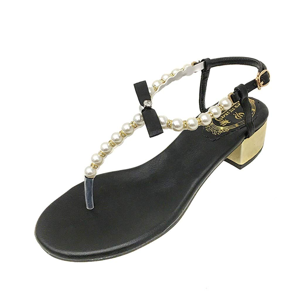 Fastbot Women's Summer Sandals Open Toe Casual Comfort Outdoor Hollow Beach Pearl Buckle Shoes Black