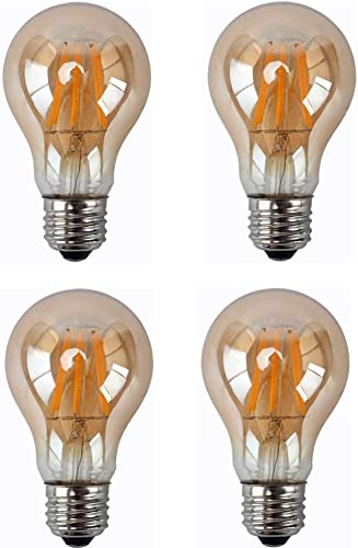 8w A60 Led Dimmable Filament Light Bulb A60 A19 Vintage Edison Led Light E27 E26 Medium Base Dimmable 110v Warm White 2300k Amber Glass Cover 60w Incandescent Replacement Pack Of 4