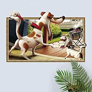3d fun cartoon dogs barbeque wall sticker child bedroom living room wall stickers