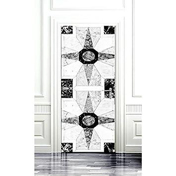 Papier Peint De Porte Mosaique Etoile Noir Et Blanc Amazon Fr