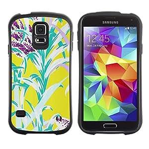 """Hypernova Slim Fit Dual Barniz Protector Caso Case Funda Para Samsung Galaxy S5 [Flores amarillas del trullo naturaleza Verano""""]"""