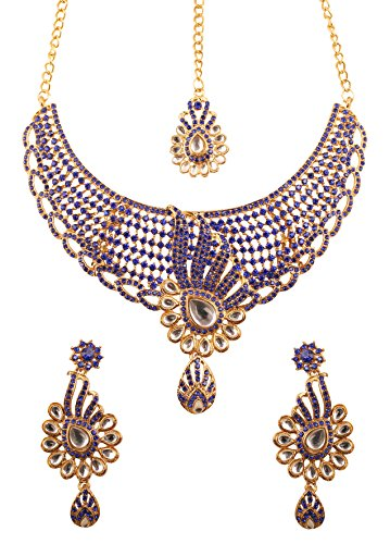 Touchstone Indian Bollywood Tinsel Town Exclusive Kundan Polki Look Blue Rhinestone Heavy Designer Bridal Jewelry Necklace Set For Women In Antique Gold Tone. - Exclusive Jewelry