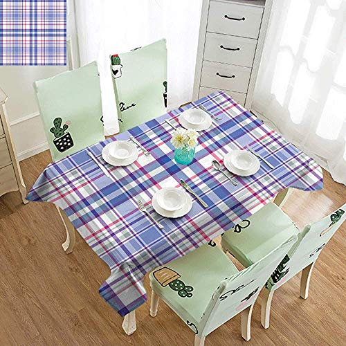 GUUVOR Checkered Easy to Care for Leakproof and Durable Long tablecloths Country Inspired Old Fashioned Pattern Picnic Theme Light Colors Outdoor Picnic W70 x L95 Inch Violet Blue White Pink