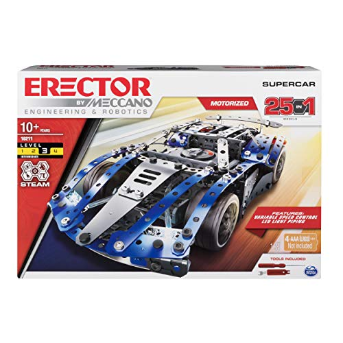 Erector by Meccano Supercar 25-in-1 Model Vehicle Building Kit, STEM Education Toy for Ages 10 & Up from Meccano