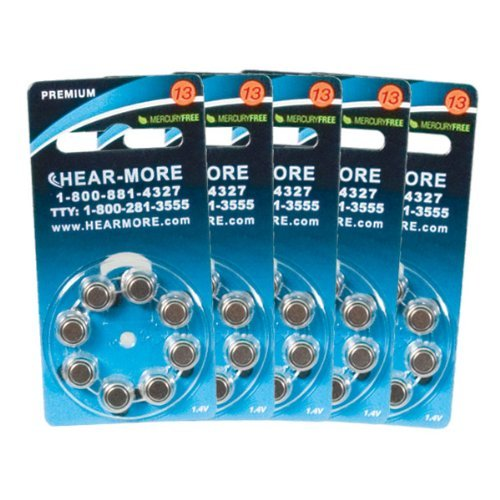 HearMore Hearing Aid Batteries- Size 13 -Ctn-40 by HearMore