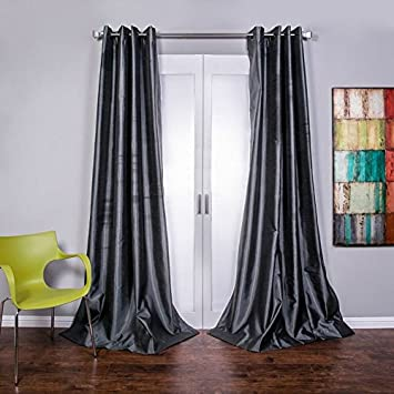 Lambrequin Mia Textured Faux Silk Grommet Curtain Panel, 96
