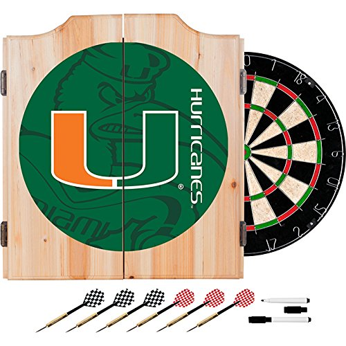 University of Miami Deluxe Solid Wood Cabinet Complete Dart Set - Officially Licensed! by TMG