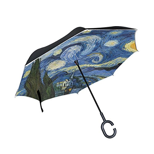 My Little Nest Starry Night Van Gogh Oil Painting Reverse Umbrella Windproof Sun Rain Double Layer inverted Car Umbrella with C-Shaped - Van Dries Mens Bag Noten