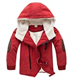 ACE SHOCK Winter Coats Boys Hooded, Lamb Wool Lined Jackets Cotton Padded Parka Thicken 2 Colors 2-11 Years (Little Boy-US L(7), Red)