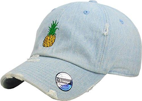 KBSV-024 LDM Pineapple Vintage Distressed Dad Hat Baseball Cap Polo Style Adjustable