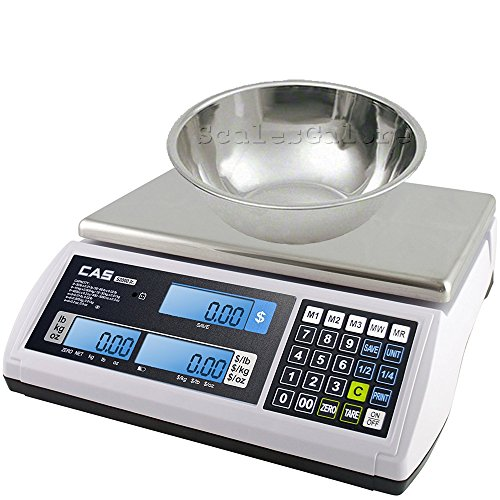 (CAS JR-S-2000-30 Legal for Trade Price Computing Scale with Produce Bowl, 60 x 0.01 lb)