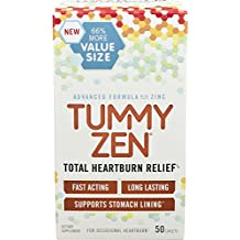 TummyZen Advanced Heartburn and Relief with Patented Natural Zinc and Calcium Formula, Long Lasting and Fast Acting - 50 Caplets