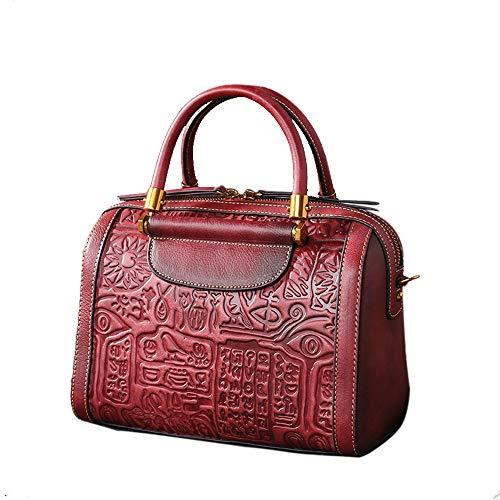 Jhmy Sac à main, cuir Totem First Choice peint à la main sur mesure (26 * 14.5 20 cm) Marron, violet rouge
