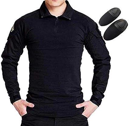 H Welt EU Camiseta táctica militar de caza de manga larga con coderas (BK, S)