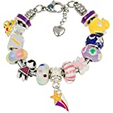 European Charm Bracelet With Charms For Girls, Stainless Steel Snake Chain, Nursery Rhyme, Purple