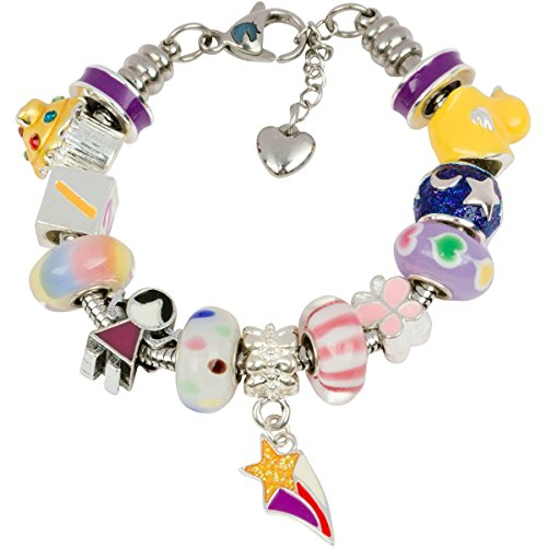 Timeline Treasures European Charm Bracelet With Charms For Girls, Stainless Steel Snake Chain, Nursery Rhyme, Purple 7 Inch (Candy Stripes Murano Glass)