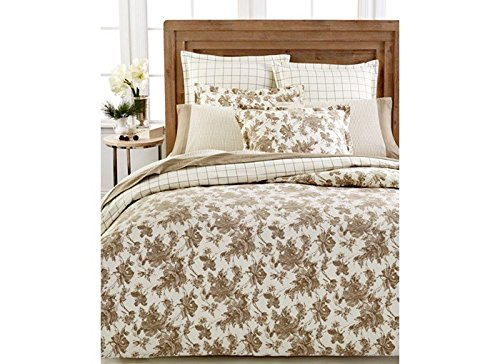 Martha Stewart Cotton Flannel Duvet Comforter Cover Sketched Roses Twin